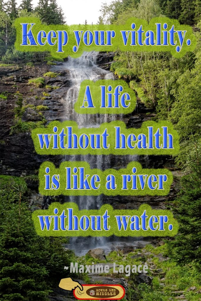 Health is Wealth Quote #4: Keep your vitality. A life without health is like a river without water. Maxime Lagacé.