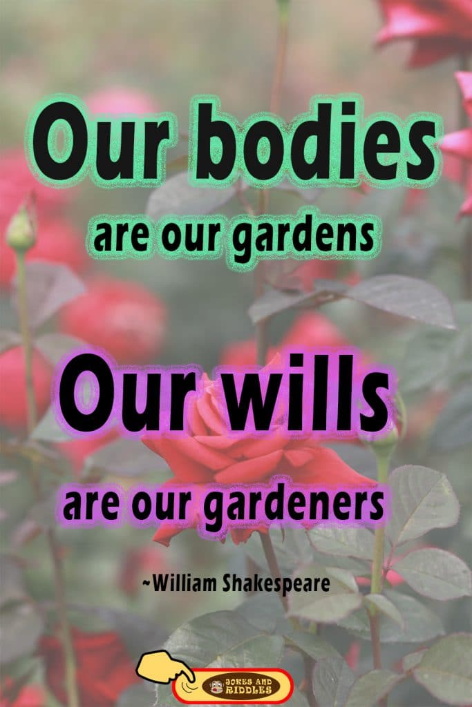 Inspirational mental health quote #2: Our bodies are our gardens – our wills are our gardeners. William Shakespeare.