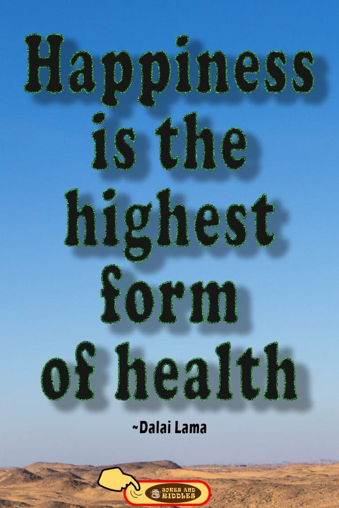 Positive Mental Health Quote #3: Happiness is the highest form of health. Dalai Lama.